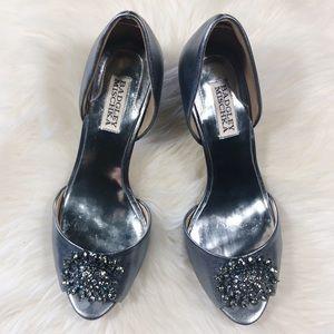 Badgley Mischka Gray Peep Toe Jeweled Heels 8.5M